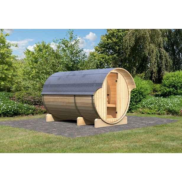 Venkovní finská sudová sauna 216 x 330 cm Dekorhome