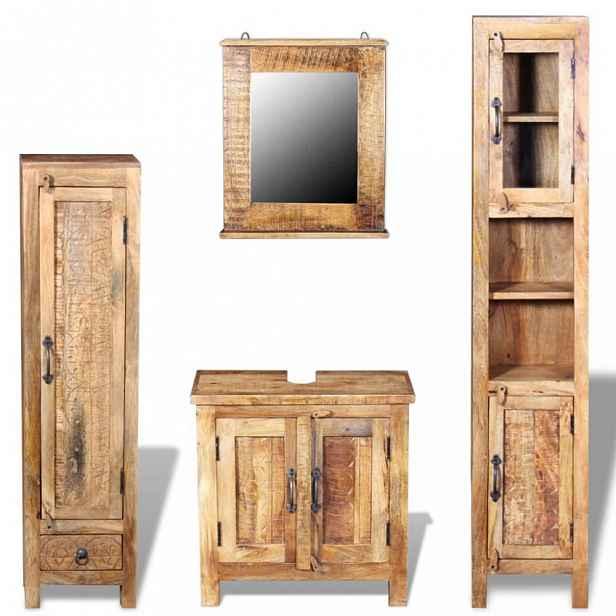 Koupelnová sestava hnědá - dřevo Mangovníkové dřevo