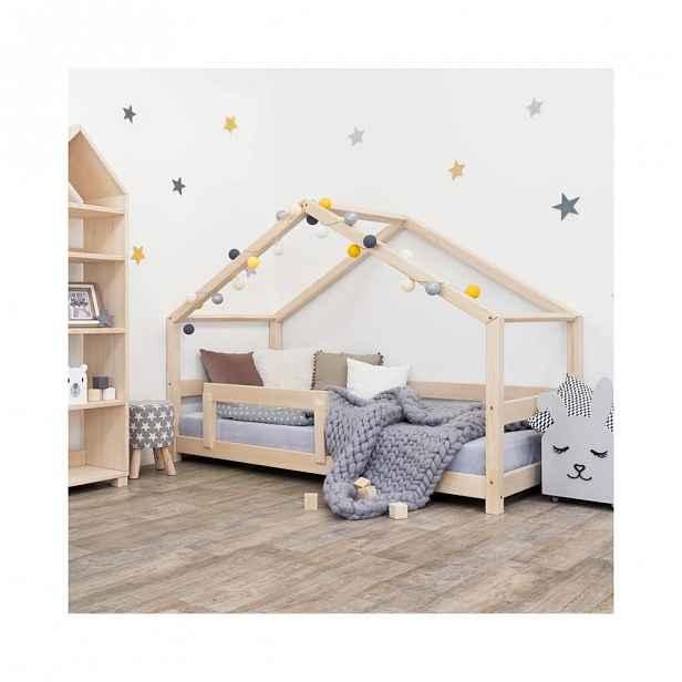 Dřevěná dětská postel domeček s bočnicí Benlemi Lucky, 80 x 160 cm