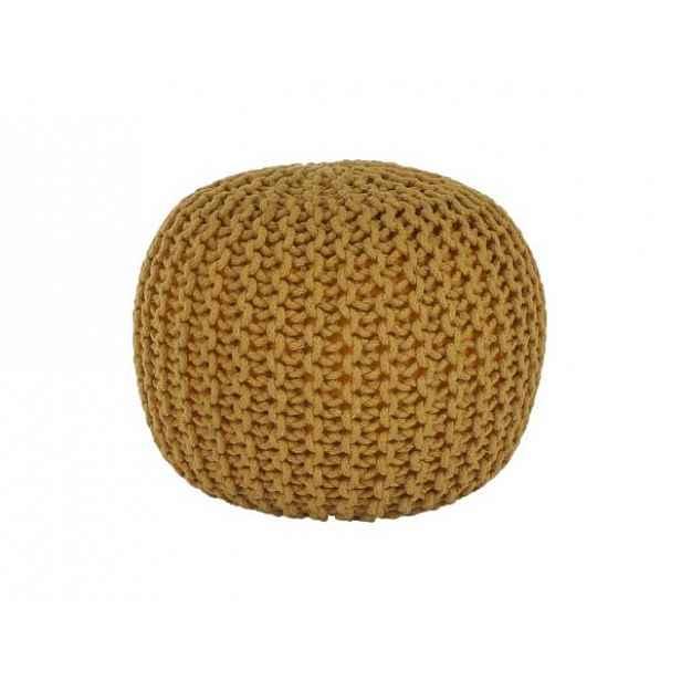 Pletený taburet Mercerie 2, bavlna hořčicová