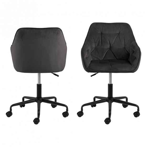 Šedohnědá konferenční židle se sametovým povrchem - 59 cm