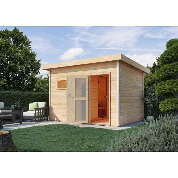 Venkovní finská sauna s předsíní 337 x 196 cm Dekorhome