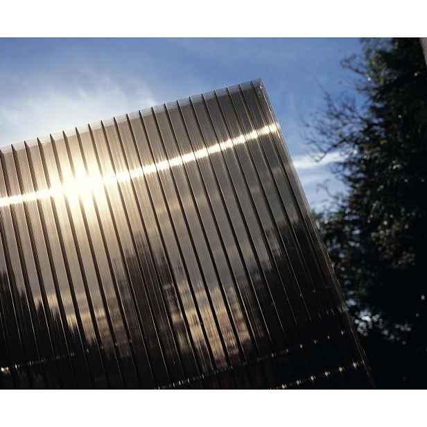 Hliníková pergola 4,34 x 3 m bílá / polykarbonát Kouřově hnědá (bronz)