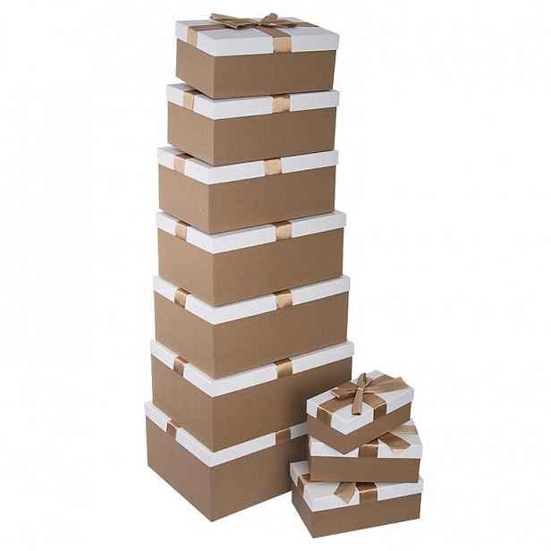 Krabice papír dárková zlatá/bílá 10 ks ORION