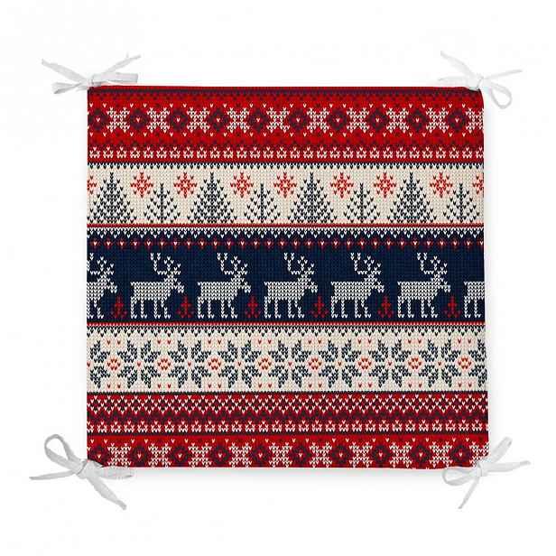 Vánoční podsedák s příměsí bavlny Minimalist Cushion Covers Blue Nordic,42x42cm