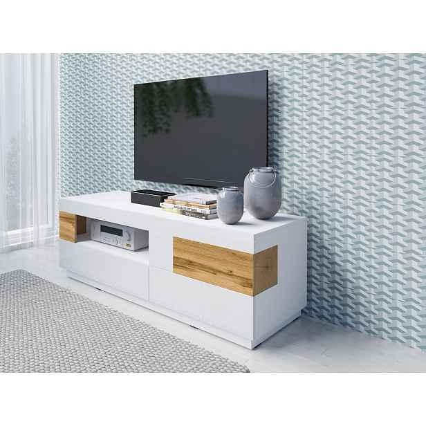 SILKE TYP 41 televizní stolek 2S1V, bílá/bílý lesk/dub wotan