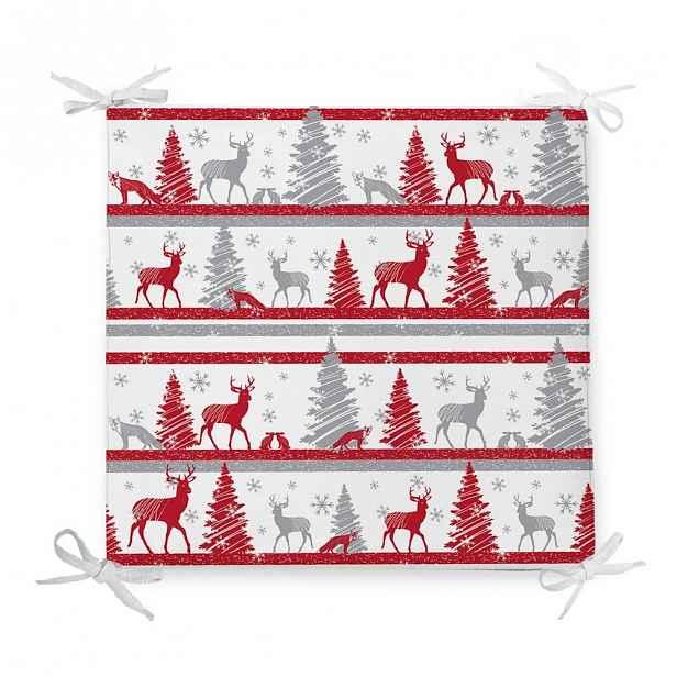 Vánoční podsedák s příměsí bavlny Minimalist Cushion Covers Red Christmas,42x42cm