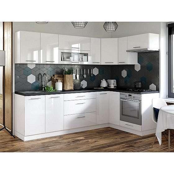 Rohová kuchyně Emilia pravý roh 243x143 cm (bílá lesk/černá)