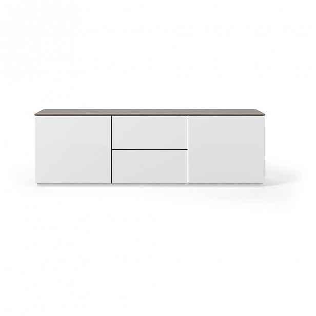 Bílý matný televizní stolek s hnědou deskou TemaHome Join, 180 x 57 cm