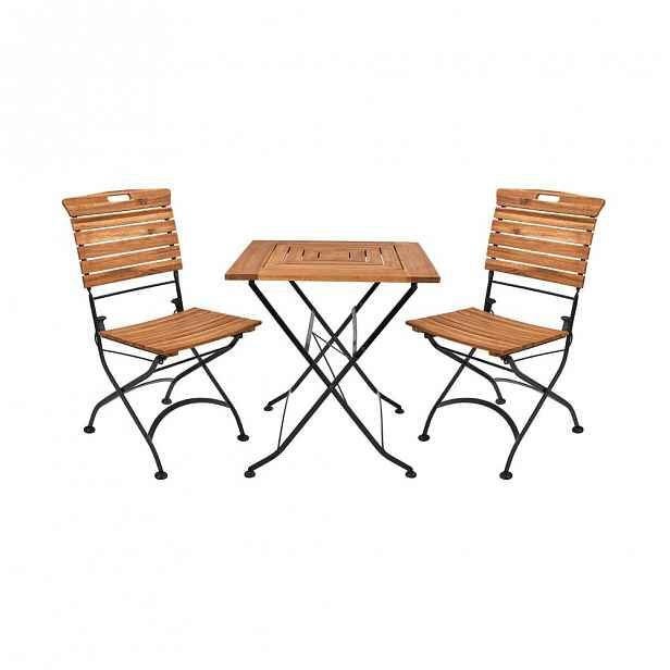 GARDEN STATE Set zahradního nábytku pro 2 osoby - hnědá/černá