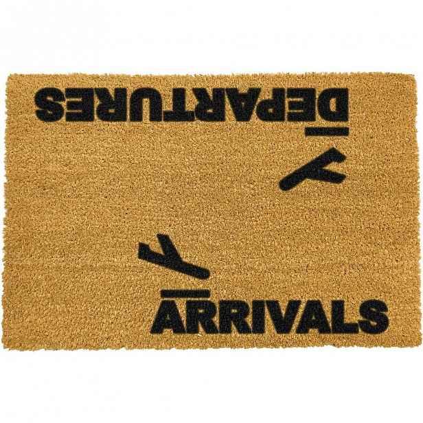 Rohožka z přírodního kokosového vlákna Artsy Doormats Arrivals and Departures,40x60cm