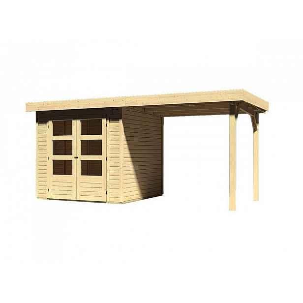 Dřevěný zahradní domek s přístavkem 467 x 217 cm