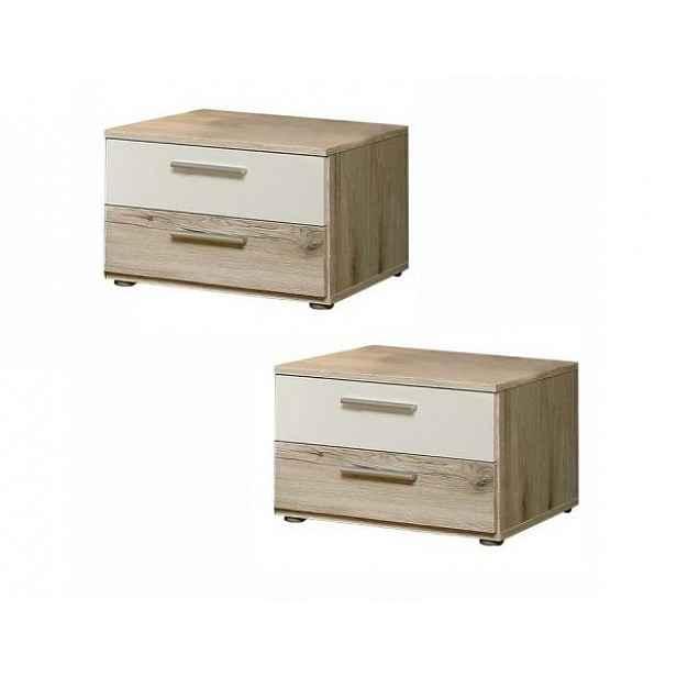 Noční stolek VALERIA - 2 ks, dub pískový/bílá