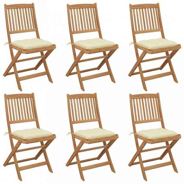 Skládací zahradní židle s poduškami 6 ks Krémová