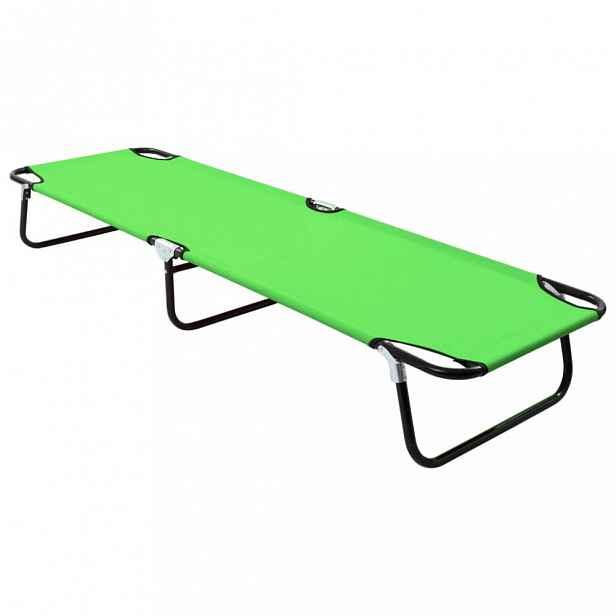 Skládací zahradní lehátko kov / látka Zelená