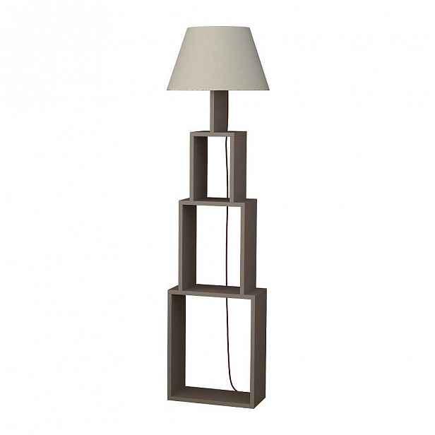 Volně stojící lampa se světle šedým stínítkem Homitis Tower