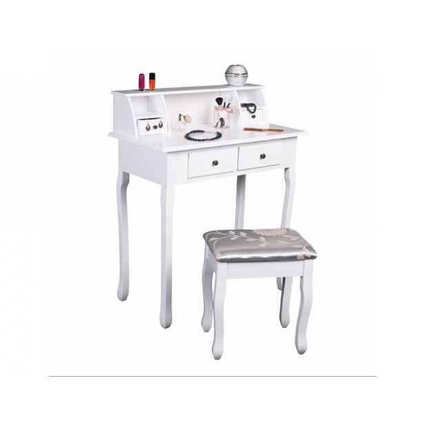 Toaletní stolek s taburetem Furbish, bílá