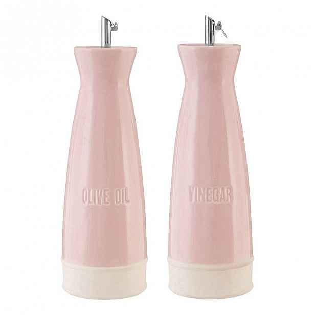 Sada 2 růžových kameninových nádob s nálevkami na olej a ocet Premier Housewares, 528 ml