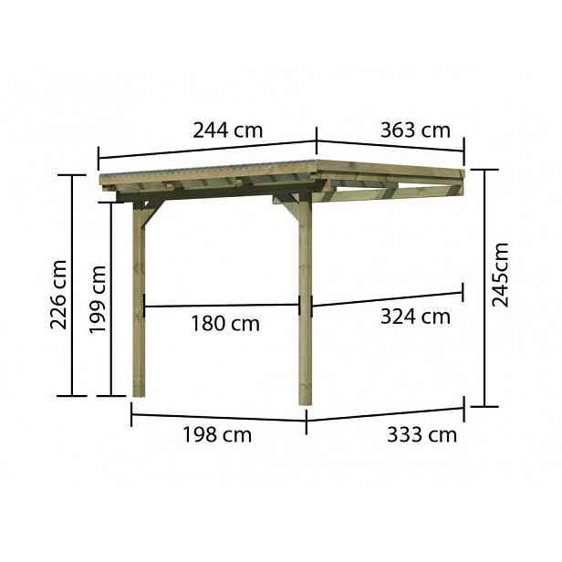 Dřevěná pergola ECO A 244 cm, 363 cm