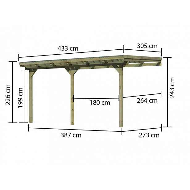 Dřevěná pergola ECO B 433 cm, 303 cm