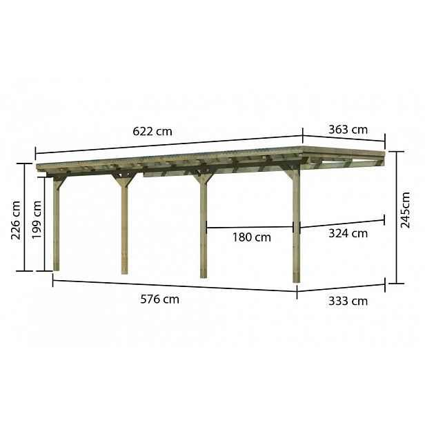 Dřevěná pergola ECO C 622 cm, 363 cm