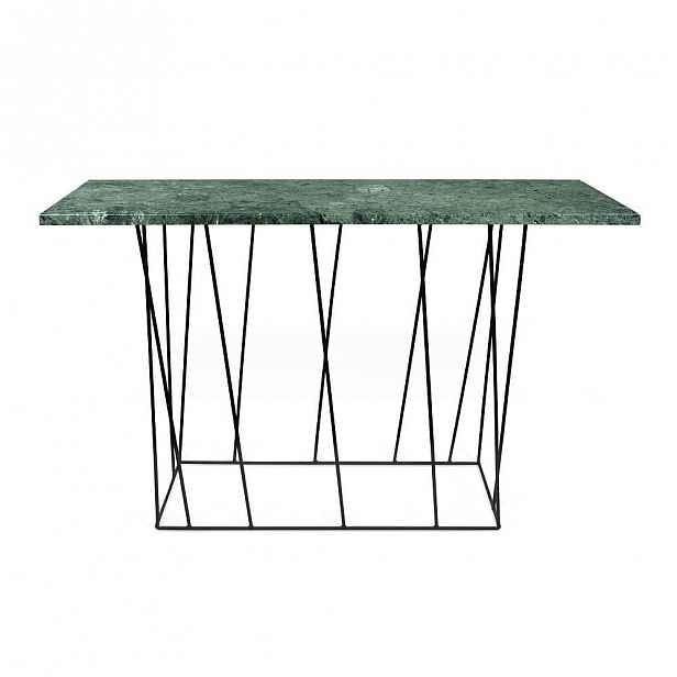 Zelený mramorový konzolový stolek s černými nohami TemaHome Helix, 40 x 120 cm