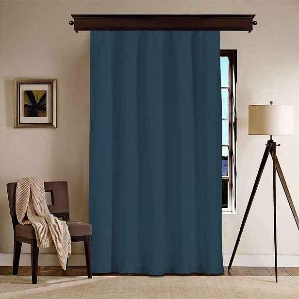 Tmavě modrý závěs Curtain Kesso, 140 x 260 cm