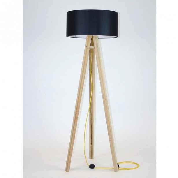 Stojací lampa s černým stínítkem a žlutým kabelem Ragaba Wanda