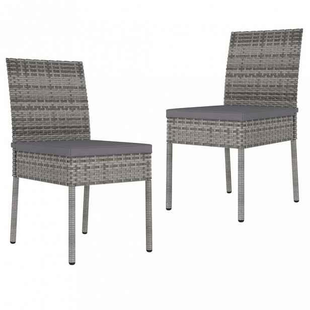 Zahradní židle 2 ks polyratan / látka Šedá