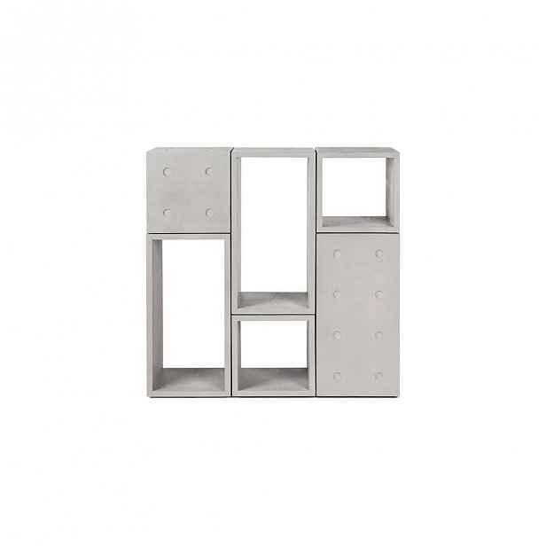 Betonový variabilní 6dílný regál Lyon Béton Dice