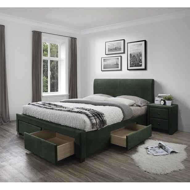 Postel MODENA 3 s úložným prostorem Halmar Tmavě zelená