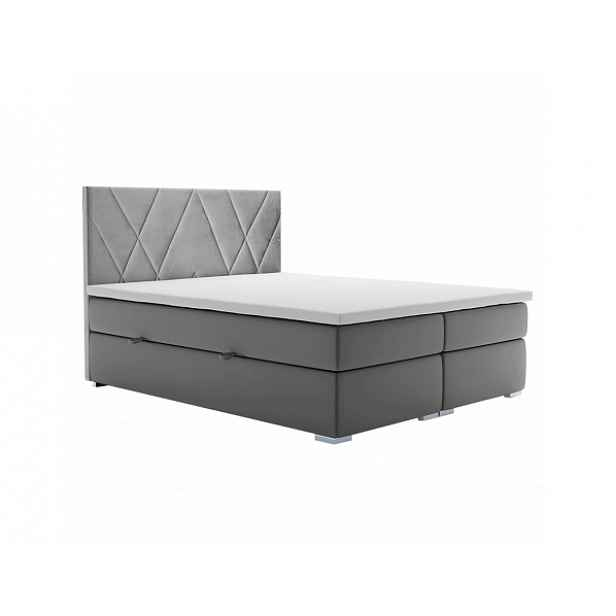 Boxspring postel Potpi 180x200, šedá