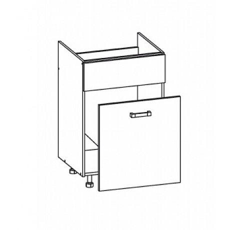 SOLE dolní skříňka DKS60 SMARTBOX pod dřez, korpus šedá grenola, dvířka dub arlington