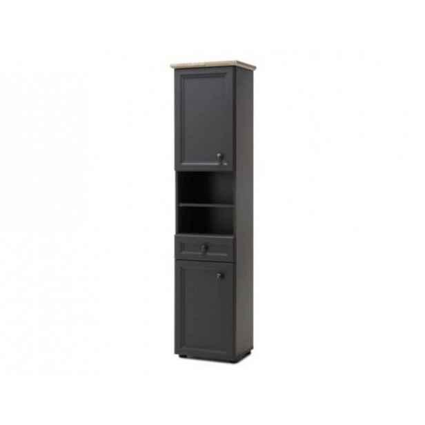 Vysoká skříňka Anter, tmavě šedá / dub