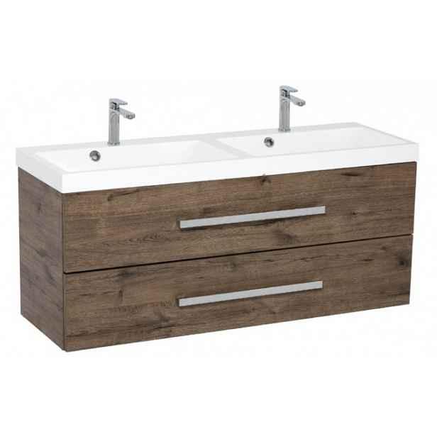 Koupelnová skříňka s umyvadlem Tiera závěsná (120x53x40 cm, dub)