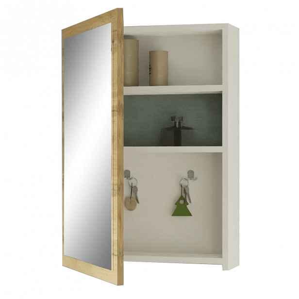 Zrcadlová skříňka na klíče HILO dub wotan / bílá Tempo Kondela