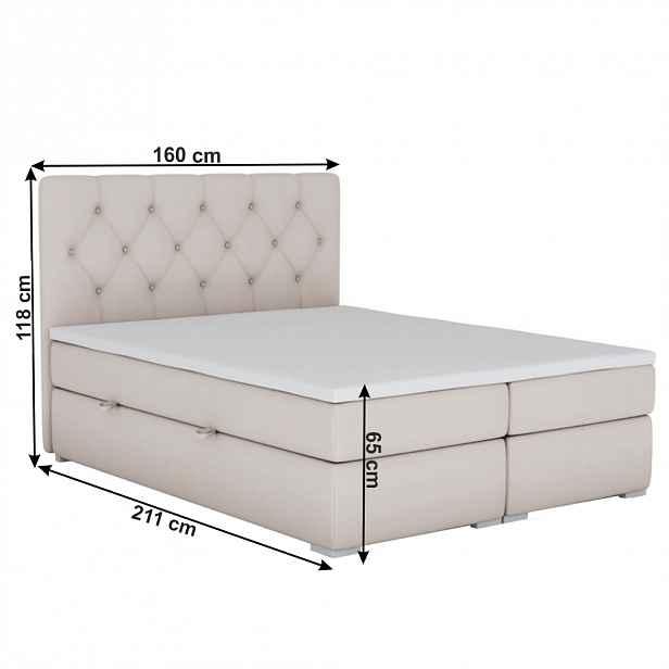 Boxspringová postel ESHLY béžová Tempo Kondela 160 x 200 cm