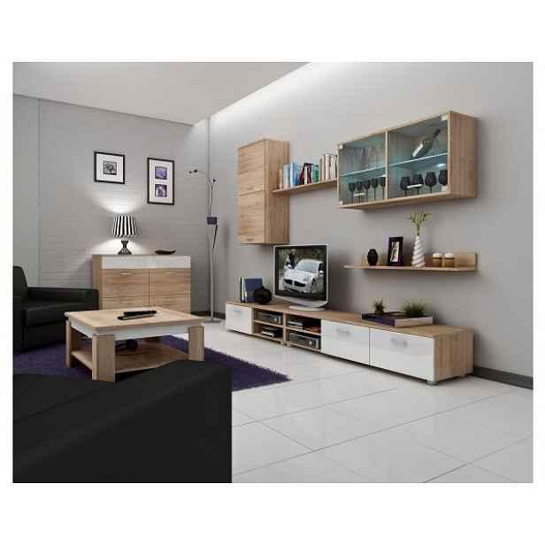 RTV stolek Magic (krátký), dub-bílý lesk