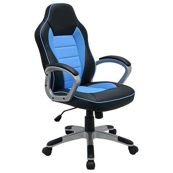 Kancelářské křeslo Star, černé/modré - 63x104-113,5x62,5 cm