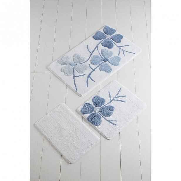 Sada 3 modro-bílých předložek do koupelny Flowers