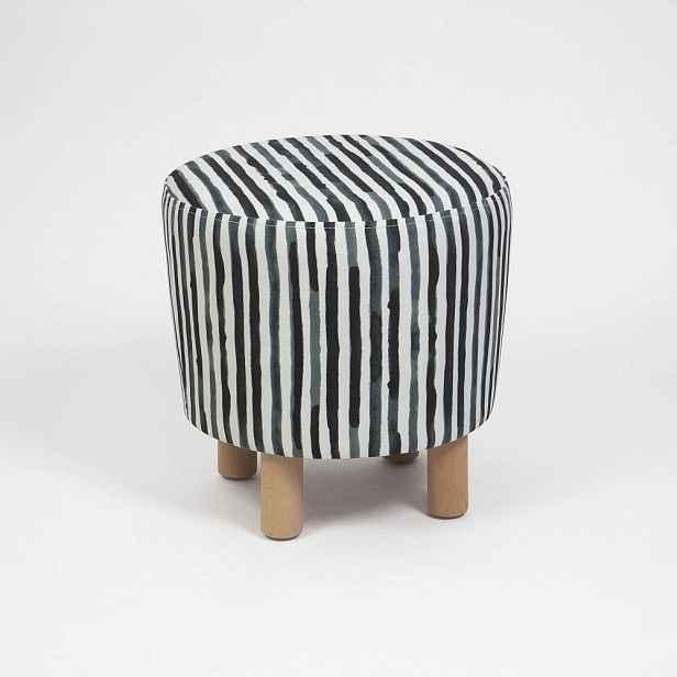 Černobílý taburet s dřevěnými nohami Cono Railey, ⌀41cm