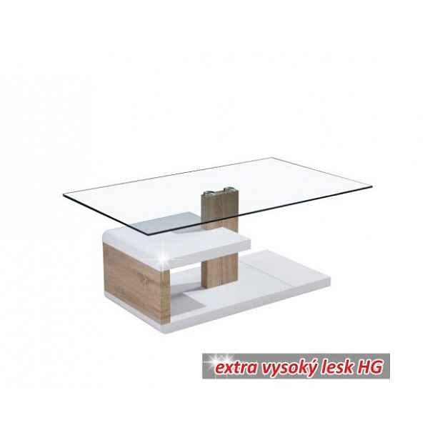 Konferenční stolek LARS, bílá extra vysoký lesk HG / dub sonoma