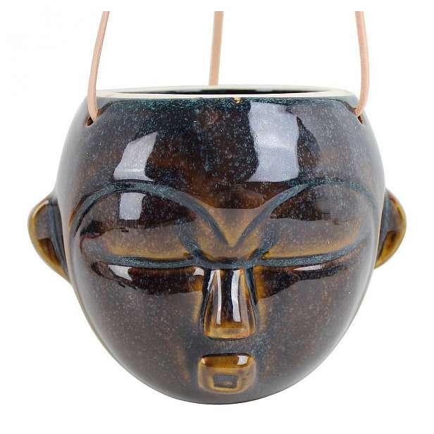Tmavě hnědý závěsný květináč PT LIVING Mask, výška 15,2 cm