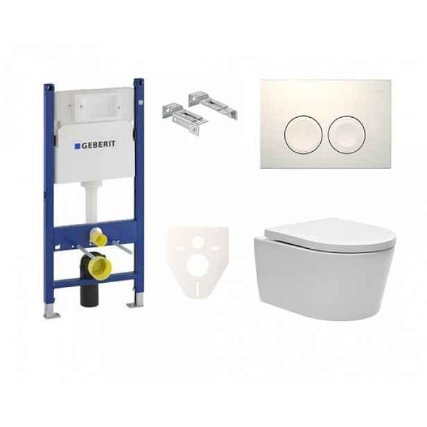 Závěsný set WC SAT Brevis, nádržka Geberit Duofix, tlačítko bílé SIKOGES7W1S