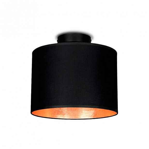 Černé stropní svítidlo s detailem v měděné barvě Sotto Luce MIKA,⌀25cm