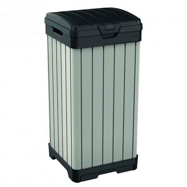 Světle hnědý zahradní odpadkový koš na kolečkách Keter, 125 l