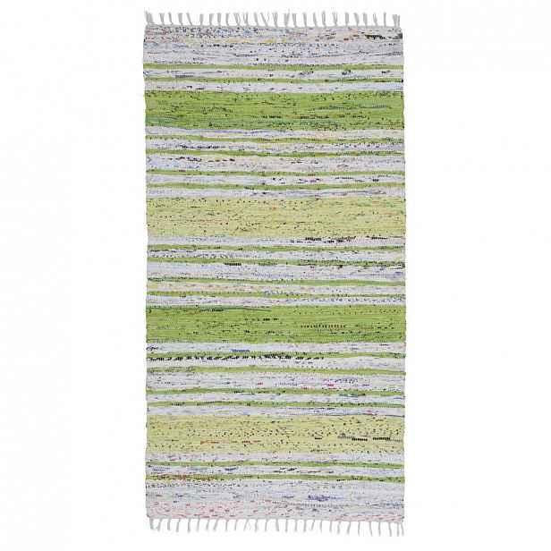 Ručně tkaný HADROVÝ KOBEREC, 80/150 cm, zelená, bílá Boxxx