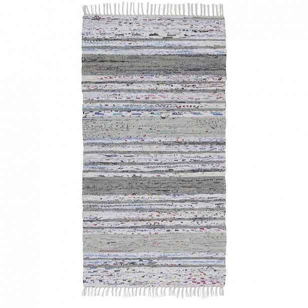 Ručně tkaný HADROVÝ KOBEREC, 80/150 cm, šedá, bílá Boxxx