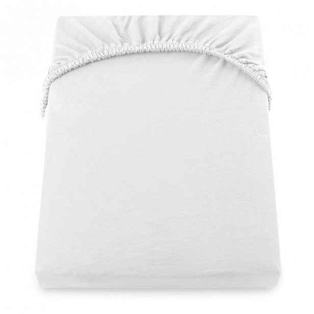 Bílé elastické prostěradlo DecoKing Nephrite, 120–140 cm