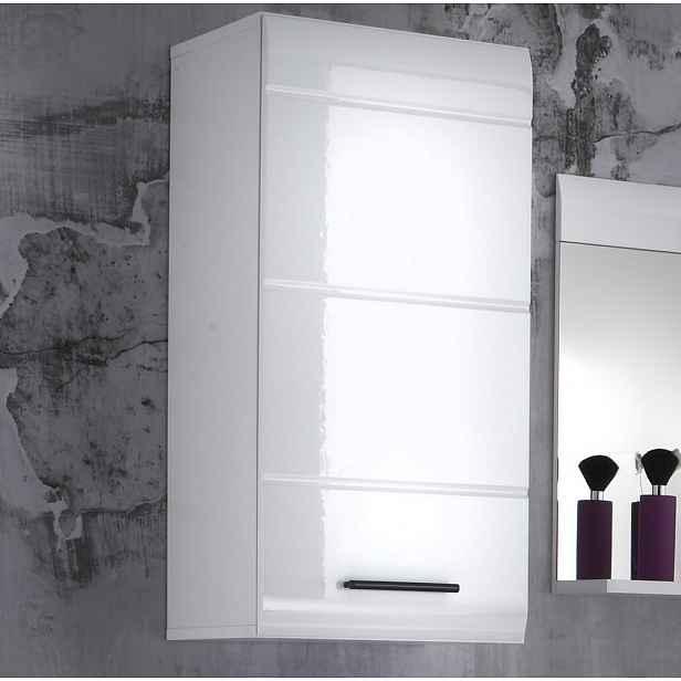 Závěsná koupelnová skříňka Skin, lesklá bílá